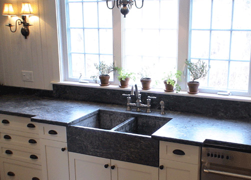 Countertops and sink in soapstone